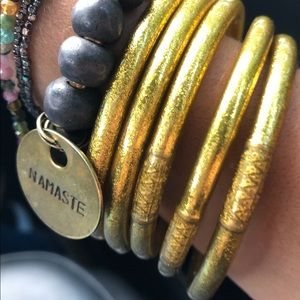 BUDHAGIRL GOLD ALL WEATHER BANGLES SERENITY PRAYER